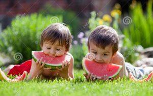 dos-muchachos-comiendo-la-sandía-en-el-jardín-41328492
